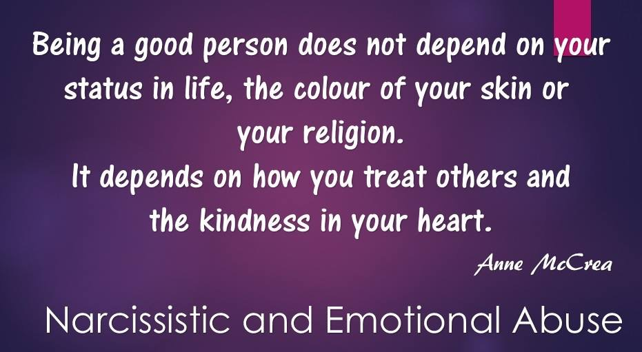 Being a good person...